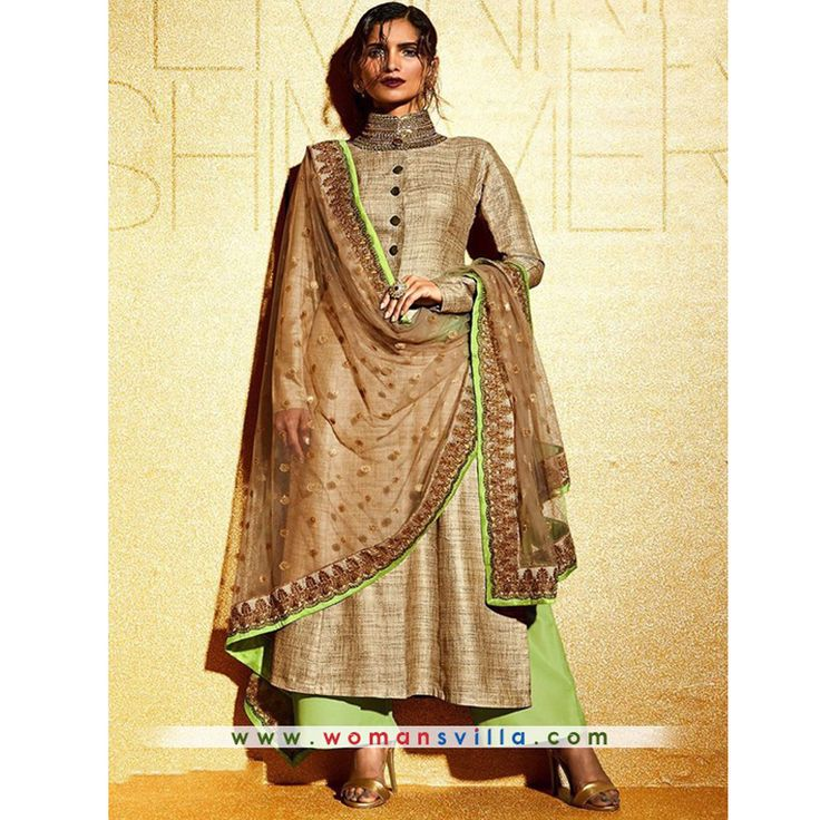 Glorious Beige And Green Colour Georgette Designer Salwar Suit#Womansvilla