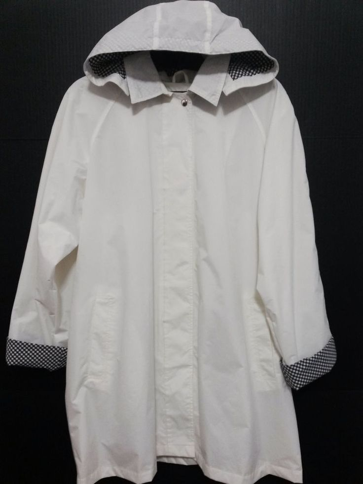 Totes - Women's Rain Coat - Size XL White & Black Checked Trim - Rain Slicker with Removable Hood #Totes #Raincoat  ..... Visit all of our online locations ..... (www.stores.eBay.com/variety-on-a-budget) ..... (www.amazon.com/shops/Variety-on-a-Budget) ..... (www.etsy.com/shop/VarietyonaBudget) ..... (www.bonanza.com/booths/VarietyonaBudget ) .....(www.facebook.com/VarietyonaBudgetOnlineShopping)