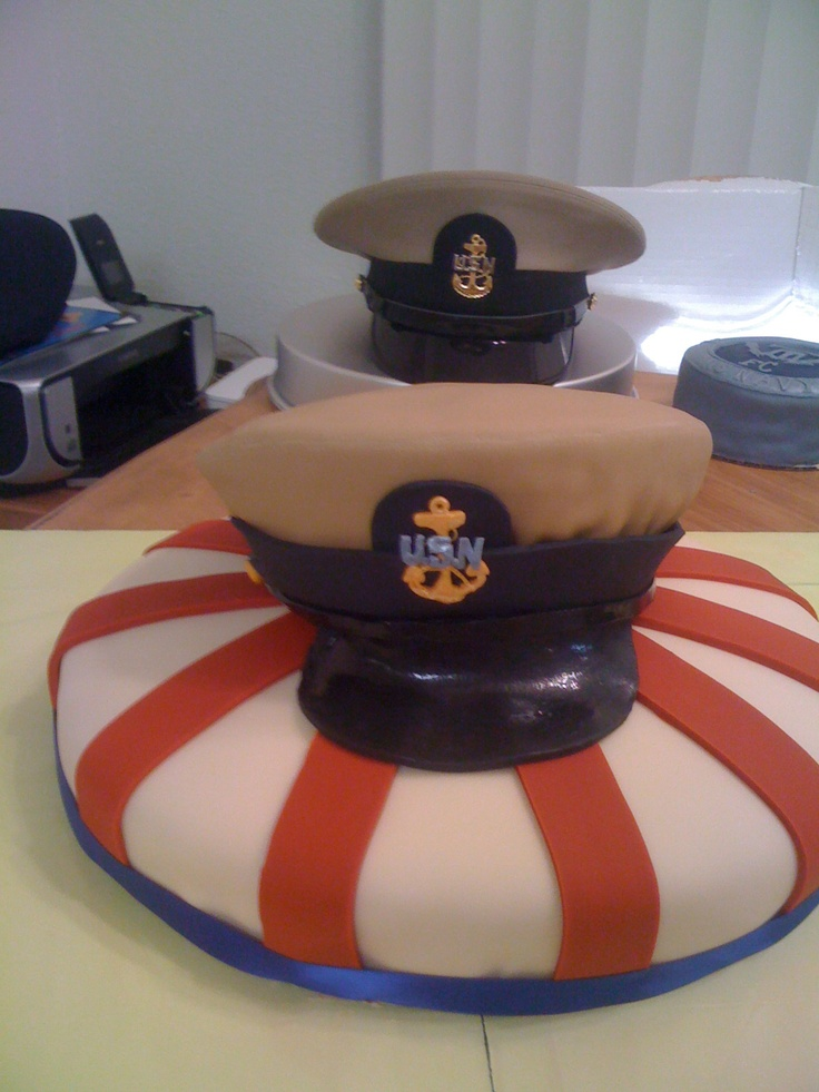 Navy Chief Cover (hat) cake. | Navy chief, Navy cakes