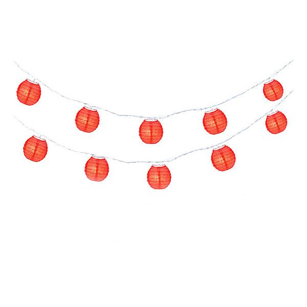 Asian Import Store Red Party Lantern String Lights (€8,77) ❤ liked on Polyvore featuring home, outdoors, outdoor lighting, red lantern, outdoor party lights, outdoor string light, outside lanterns and outdoor string of lights