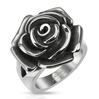 Spikes Stainless Steel Single Rose Cast Band Ring | Body Candy Body Jewelry