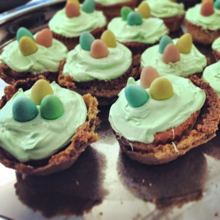Double dessert! Easter cupcakes in a chocolate chip cookie crust.