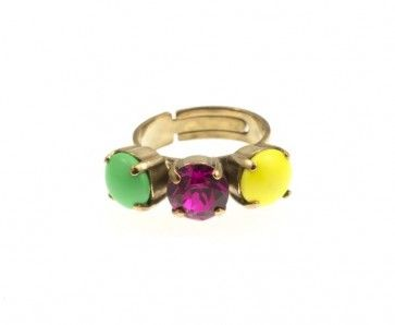 Green, fuchsia and yellow ring, by Art Wear Dimitriadis -Handmade-