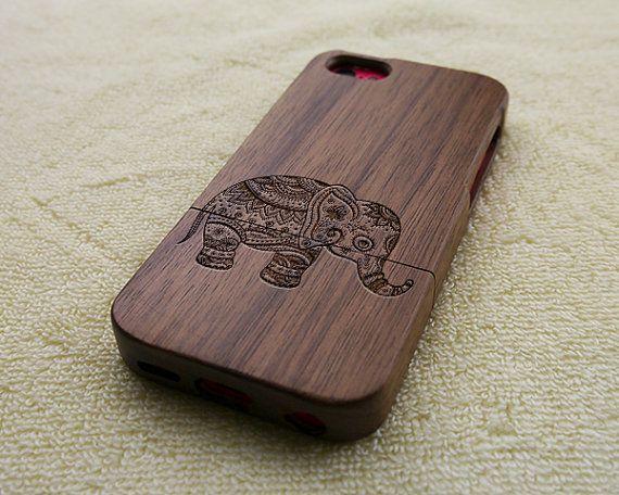 Wood iPhone 5C case, wooden iPhone 5C case, elephant iPhone 5C case, floral elephant iPhone 5C case, wooden iPhone case