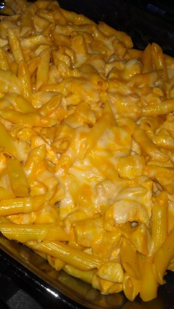 Buffalo chicken pasta bake. I (Melissa) made this for dinner and it was amazing! Tweaked the prep some & subbed cream cheese for the ranch. Delicious!