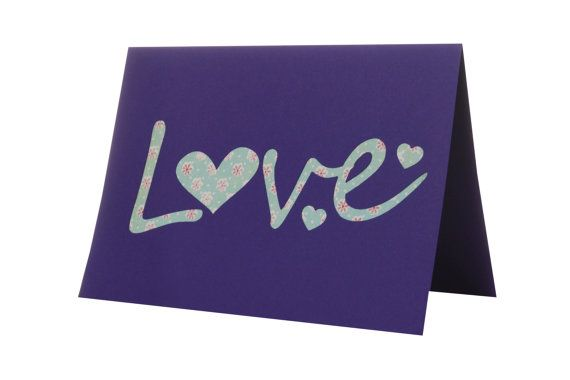 Purple LOVE card  I love you by weheartcards on Etsy