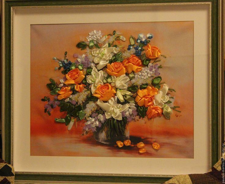 """Купить Картина лентами """"Желтые розы"""" - зеленый, оранжевый, желтые розы, оранжевые розы"""