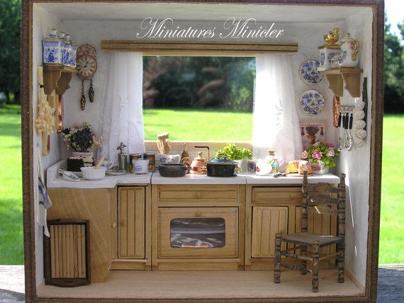 Miniature Dollhouse Kitchen RoomBox With The Window by Minicler
