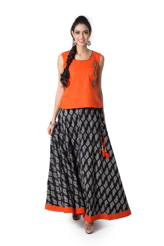 690904bc02 Maybell Women's Cotton Skirt Set in Black | Skirt & Top Set | Cotton ...