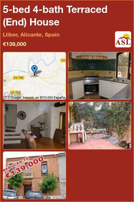 5-bed 4-bath Terraced (End) House in Lliber, Alicante, Spain ►€139,000 #PropertyForSaleInSpain
