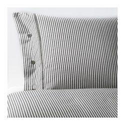 IKEA - NYPONROS, Capa de edredão e 2 fronhas, 240x220/50x60 cm, , Tingido antes de ser tecido; confere um toque suave.Os botões decorativos forrados a tecido mantêm o edredão e a almofada no lugar.