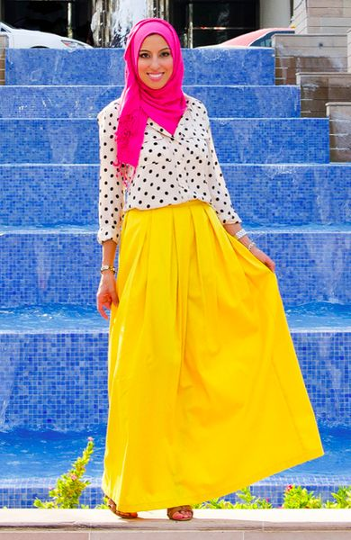 Melanie in the Pretty Pleated Twill Skirt - Canary - Haute Hijab