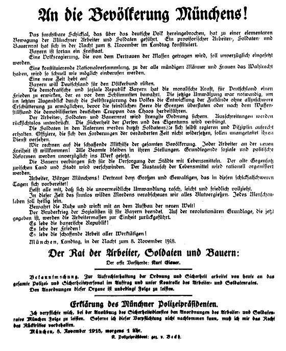 Und Bayern war fortan ein Freistaat... Am 8. November 1918 rief Kurt Eisner, nach einer friedlichen Revulution in München die Republik in Bayern aus.