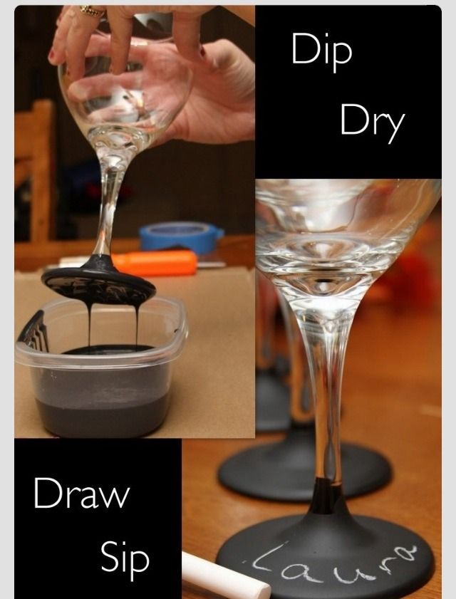 DIY Chalk Wine Glass! We need this with our huge Mexican family parties! Lol