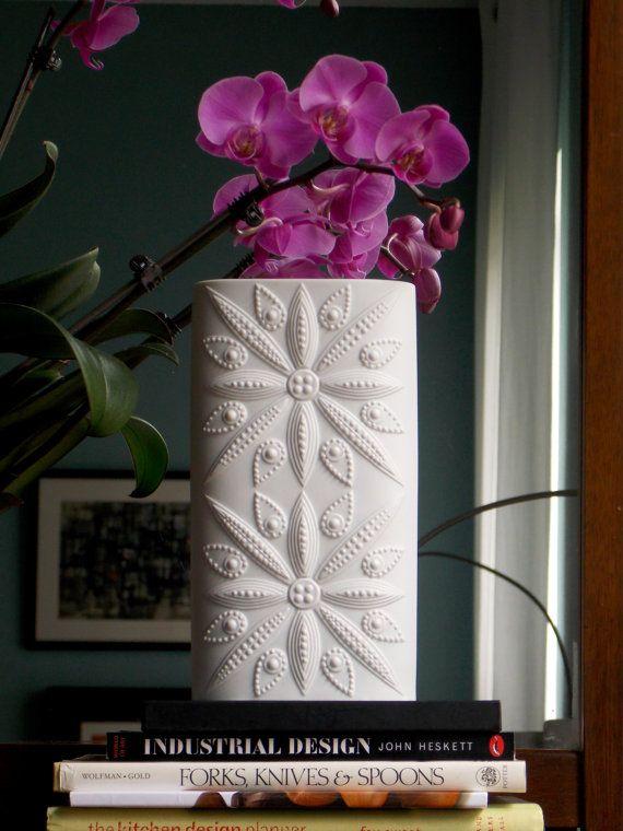 Large White Vintage porcelain vase from W Germany #MidCenturyFLA