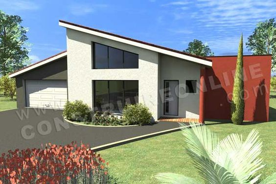 Plan de maison en L moderne Caron vue garage maisons Pinterest - Plan De Maison Moderne
