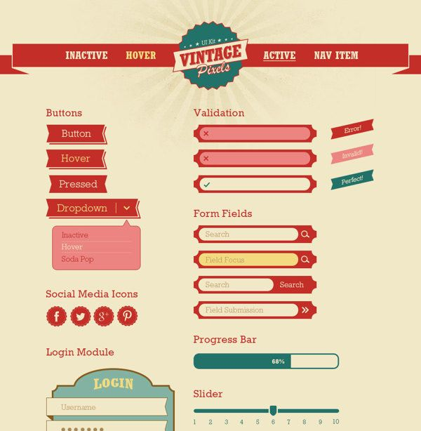 Vintage Pixels User Interface Kit