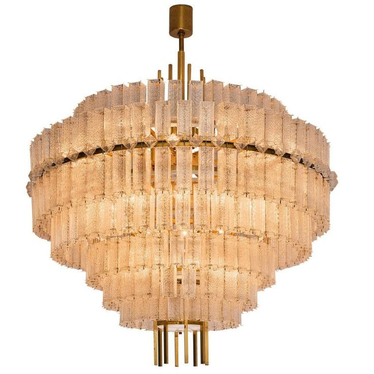 Pair of Large Circular Chandelier in Brass and Structured Glass 1