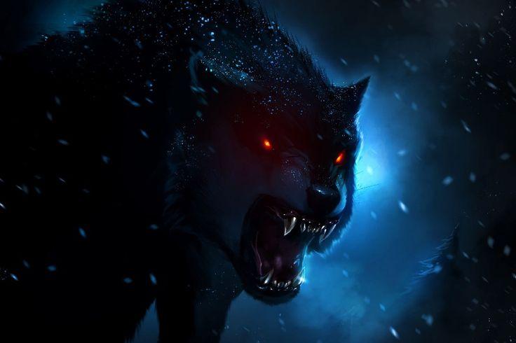 Красные Глаза Охота На Волка В Снег Ночь Фантазии Работа Ткань Шелковый Плакат Распечатать Изображение Для Подарка