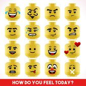 Toy Block Emoji Games Isometric — Stock Vector