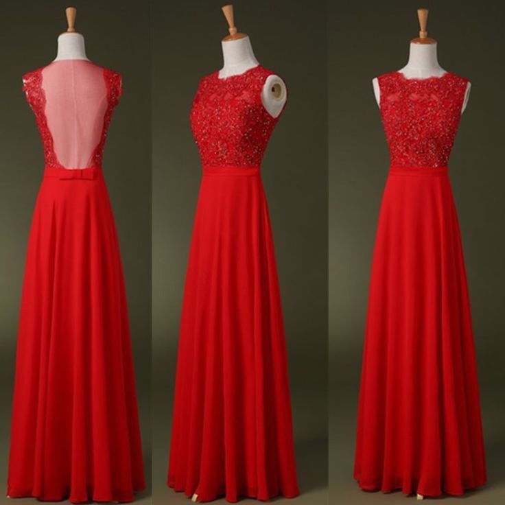 Slim A Line High Neck See Through Back Long Red Chiffon Lace Beaded Prom Dress