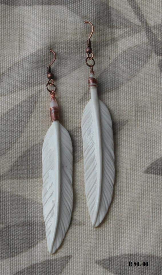 Large porcelain ear rings feathers