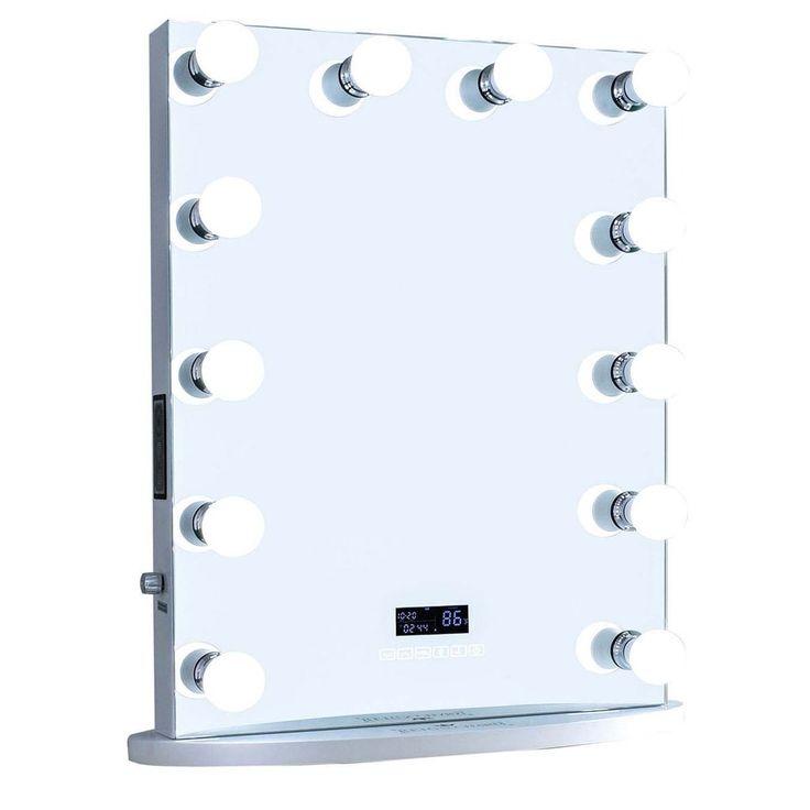 "12-LED Bulbs Diamond Cut Rockstar Hollywood Vanity Mirror with Bluetooth Speakers, 22""W x 29""H"