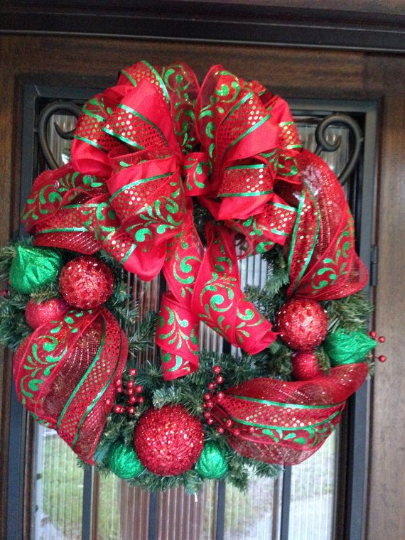 sale red and green christmas wreath ornaments ribbon deco mesh more crafts pinterest. Black Bedroom Furniture Sets. Home Design Ideas