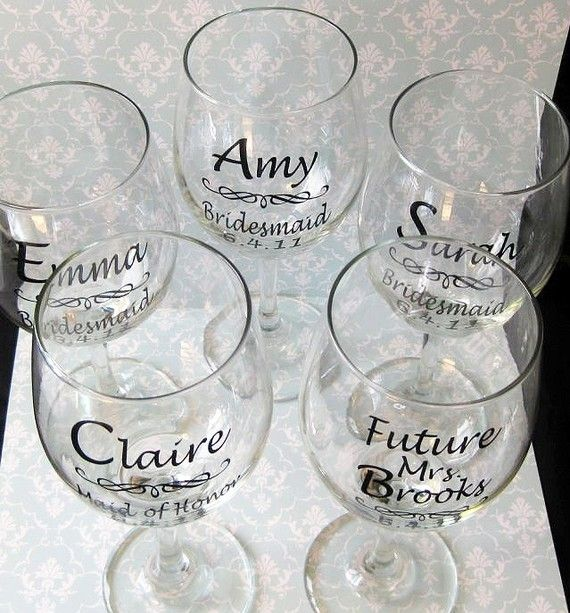 SINGLE DIY Wedding Bride and Bridesmaid Wine Glasses Vinyl Decals diy Glasses NOT Included. on Etsy, $2.60