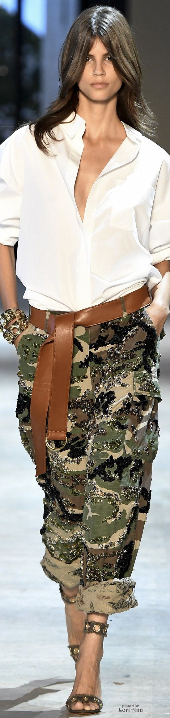Alexandre Vauthier Couture F-16: white shirt, camo pants with sequins.