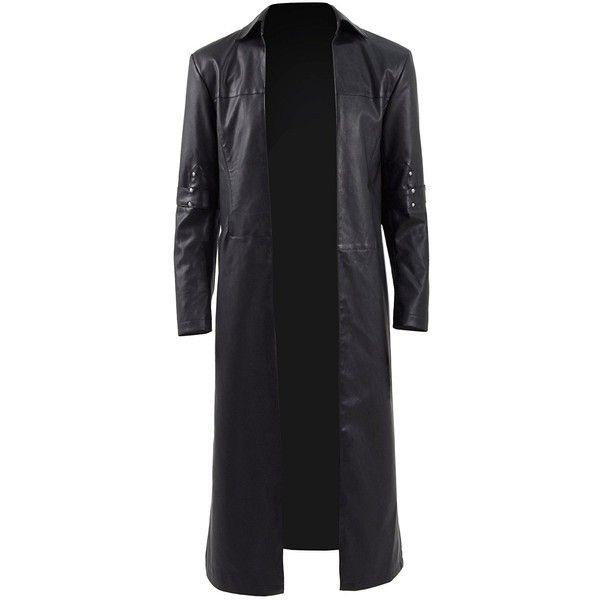 Mens Black Gothic Trench Coat PU Leather Slim Fit Outwear Christmas... ($114) ❤ liked on Polyvore featuring men's fashion, men's clothing, men's outerwear, men's coats, mens gothic trench coat, mens long jacket, mens trench coat, mens longline bomber jacket and mens slim fit coat
