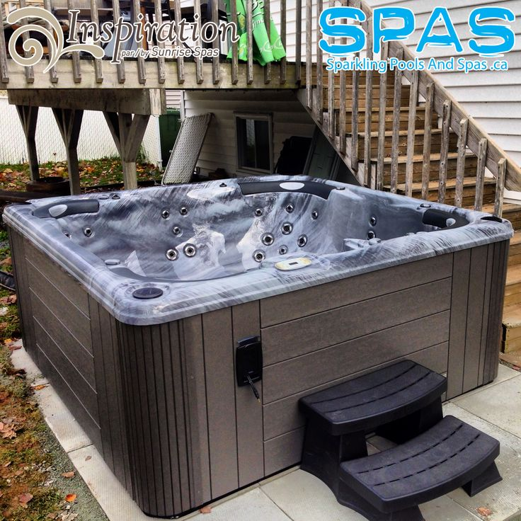 Canadian Made Hot Tub on Patio in Dartmouth, NS back yard. The Tonga - Made by Sunrise Spas (Inspiration Line) Insulated and ready for Winter. Perfect Hot Tub! Beautiful www.SparklingPoolsAndSpas.ca