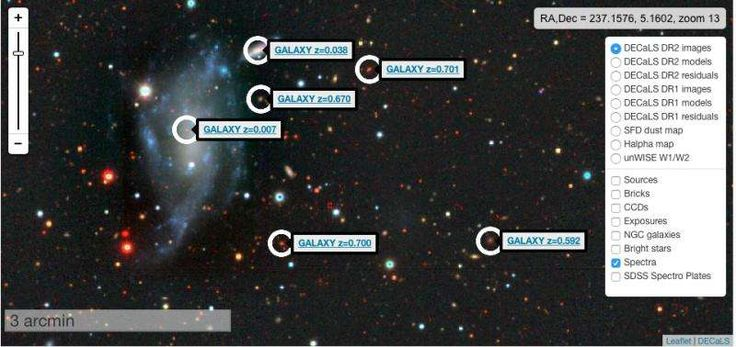 Explore galaxies far, far away at internet speeds. This screenshot, from an interactive Sky Viewer tool, shows a small region of the sky in the vicinity of the galaxy UGC 10041 imaged by the Dark Energy Camera Legacy Survey (DECaLS). Credit: Dustin Lang/University of Toronto