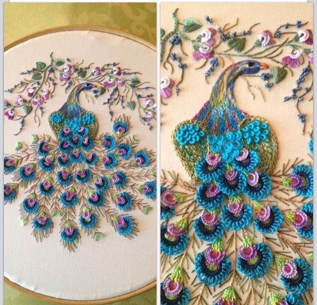 """Brazilian Dimensional Stitchery Embroidery Instructional Pattern.   """"Majestic Peacock"""". By Liliana"""