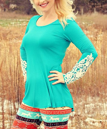 Take a look at this Turquoise Crochet-Sleeve Top - Women on zulily today!