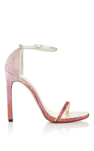 Stuart Weitzman Pave Nudist Sandal In Pink Ombre by STUART WEITZMAN for Preorder on Moda Operandi