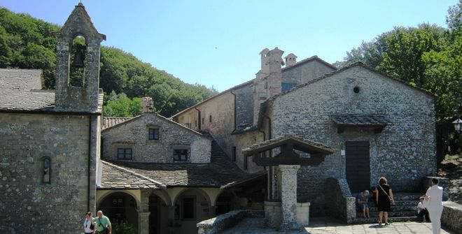 View of the Quadrante (main square) of La Verna Sanctuary and the roofs of the dormitory & refectory of the friars