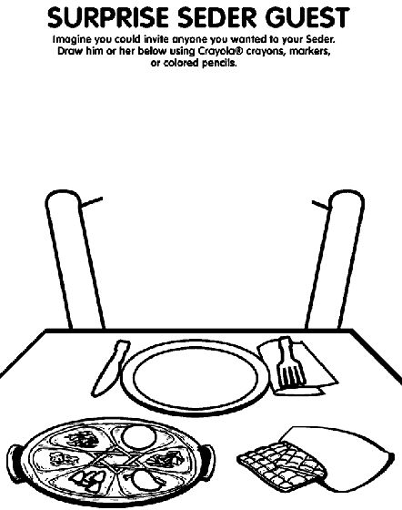 seder coloring pages - surprise seder guest coloring page passover pesach