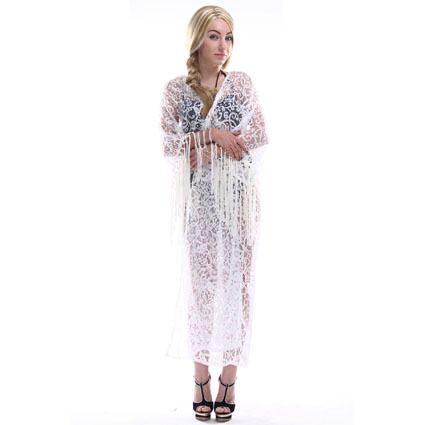 Summer Women Tops Beach Long Maxi Kimono Cardigans White Tassel Lace Shirts Casual Women Blouses feminina Plus Size Kimonos 019 Love it? Get it here