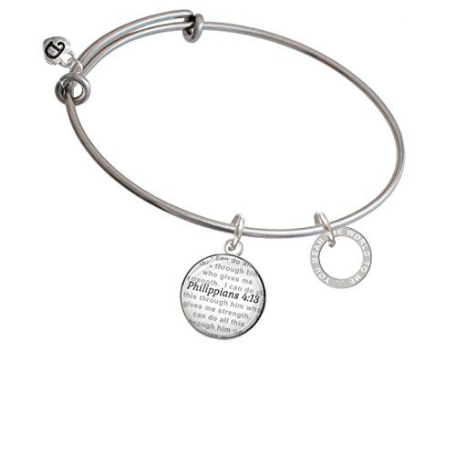 You Mean The World To Me Infinity Ring - Bible Verse Philippians 4:13 Glass Dome Bangle Bracelet