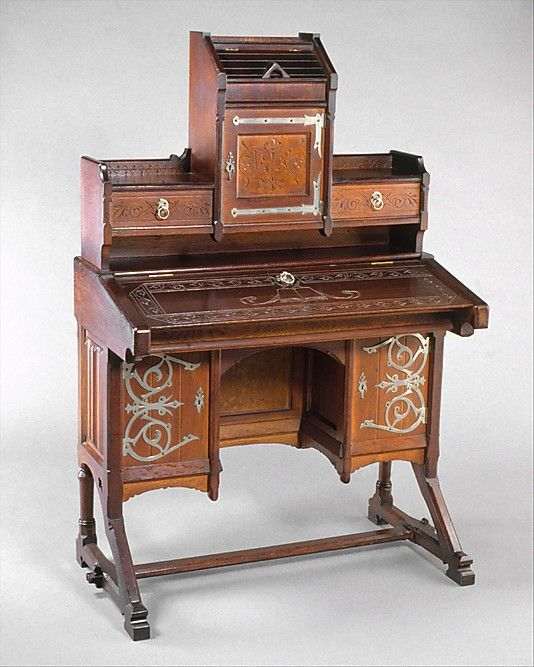 Desk, by Kimbel and Cabus, ca. 1877, New York City, the Met Collection: Bears Medieval Style, Gothic Style, Antiques Furniture, Ancestors Furniture, Antique Furniture, Modern Gothic, Antique Stuff, Comment, Antique Desks