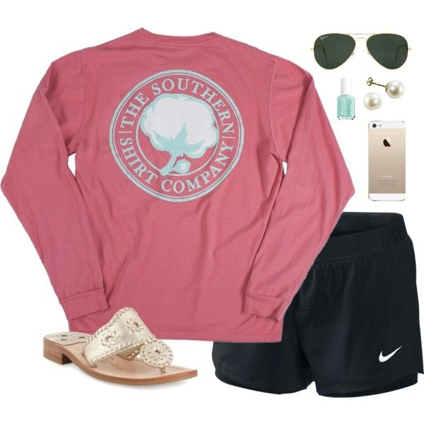 comfy by classically-preppy on Polyvore featuring NIKE, Jack Rogers, Ray-Ban and Essie