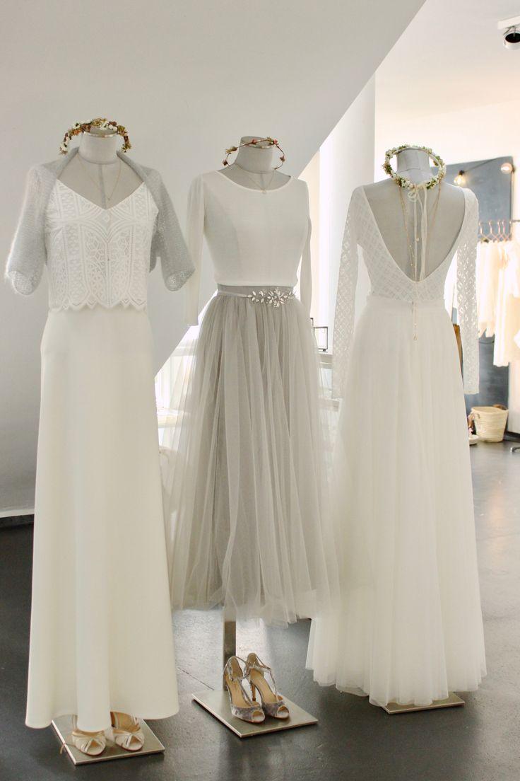 Moderne Brautkleider und schöne Standesamtkleider mit Spitzentop und farbigem Tüllrock.