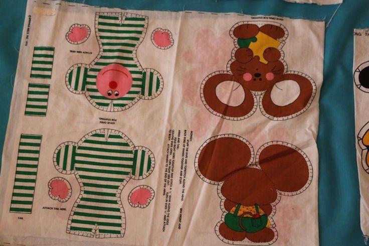 Spring Mills 1976 Cut & Sew Fabric Pillow Panels Monkey  Mouse Cat Dog VTG Uncut #SpringMills