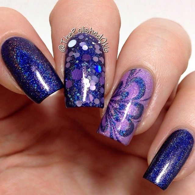February 3, 2014 - Crazy Beautiful Purple Blue Glitter Floral Nails by ThePolishedOkie @ Instagram