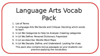 This pack contains the following:1) List of Terms2) In Language Arts We Decide and Critique: Deciding which words to learn 3) In LA We Categorize to Help Us Analyze: Creating categories4) In LA We Define: Personal Dictionary Frayerized5) In LA we describe: Wordle Word Maps6) In LA We Decode, Define, and Understand: Looking for cluesThis pack also contains bonus passages so your students can practice applying the vocabulary.These activities are perfect for centers,  interactive notebooks, or…