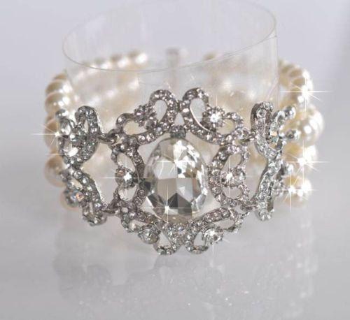 Handmade Vintage Inspired Pearl and Crystal Rhinestone Bridal