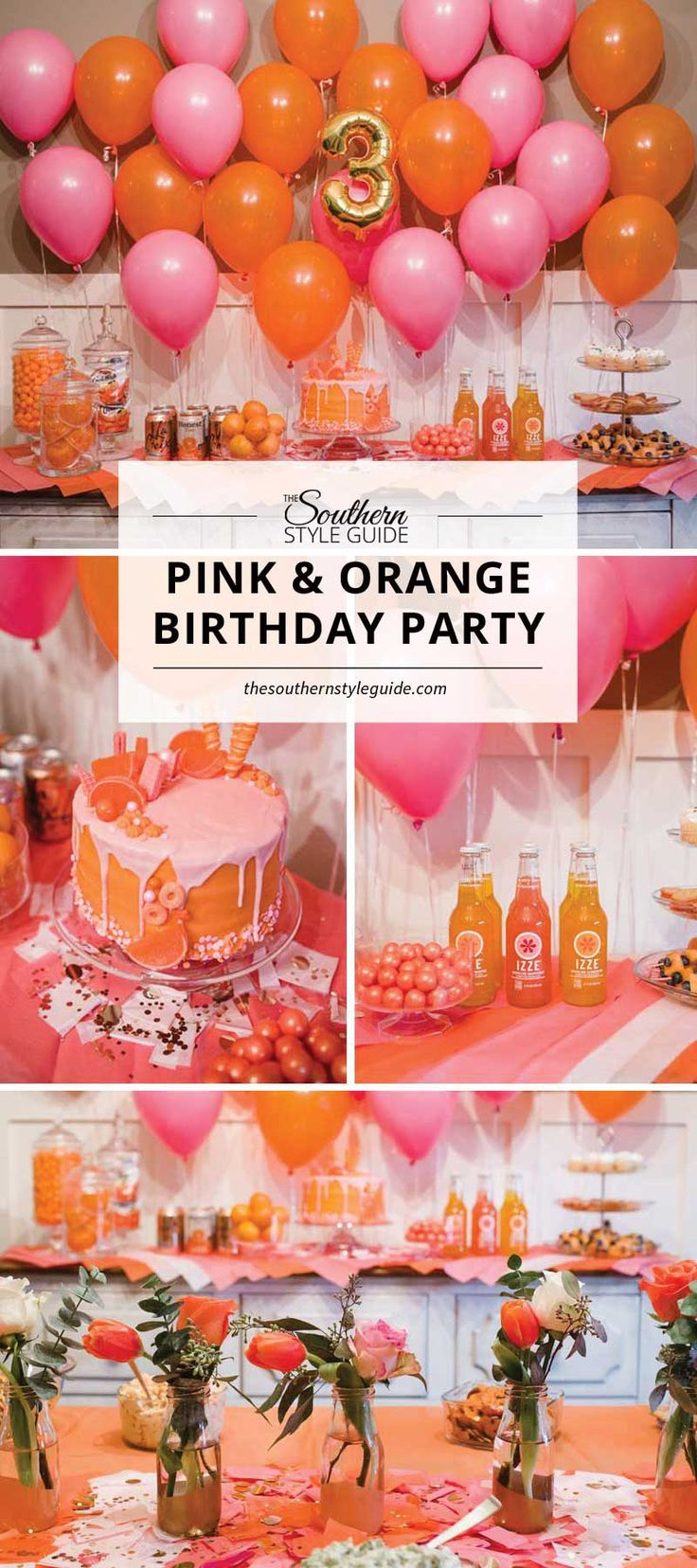 How to throw a color-themed birthday party for little girls. Pink & Orange little girl's birthday party.