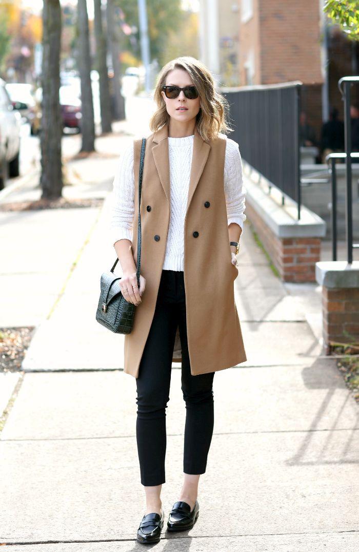 Long camel vest  white sweater  black trouser
