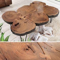 Massiver Couchtisch GOA 115cm Baumscheiben Akazie Beistelltisch Tisch